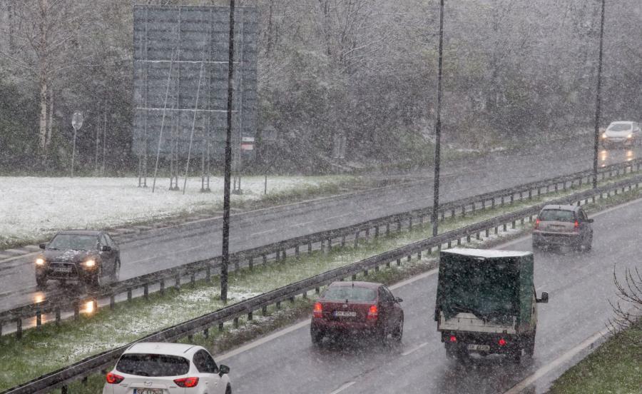 Opady śniegu w Katowicach