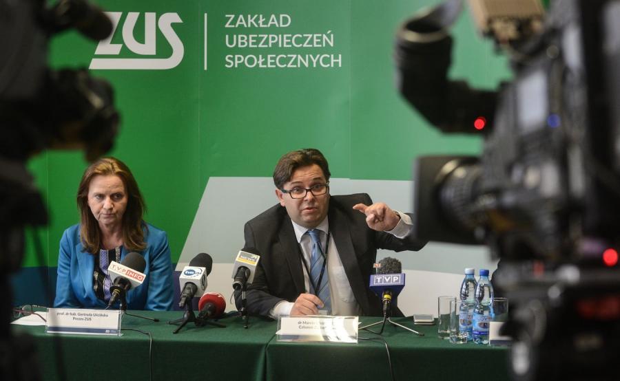 Prezes ZUS Gertruda Uścińska oraz członek zarządu ZUS Marcin Wojewódka