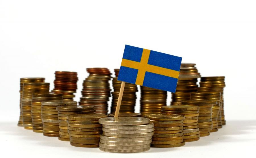 Pieniądze i szwedzka flaga