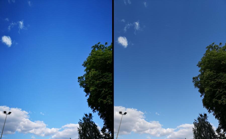 Huawei P20 Pro. Lewe zdjęcie z AI, prawe bez