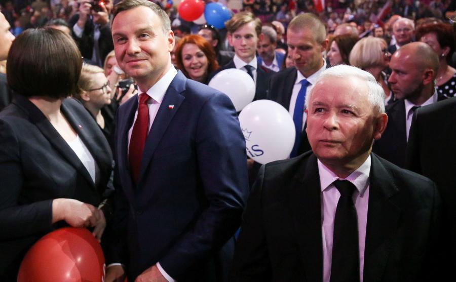Andrzej Duda jeszcze jako prezydent elekt w towarzystwie prezesa PiS