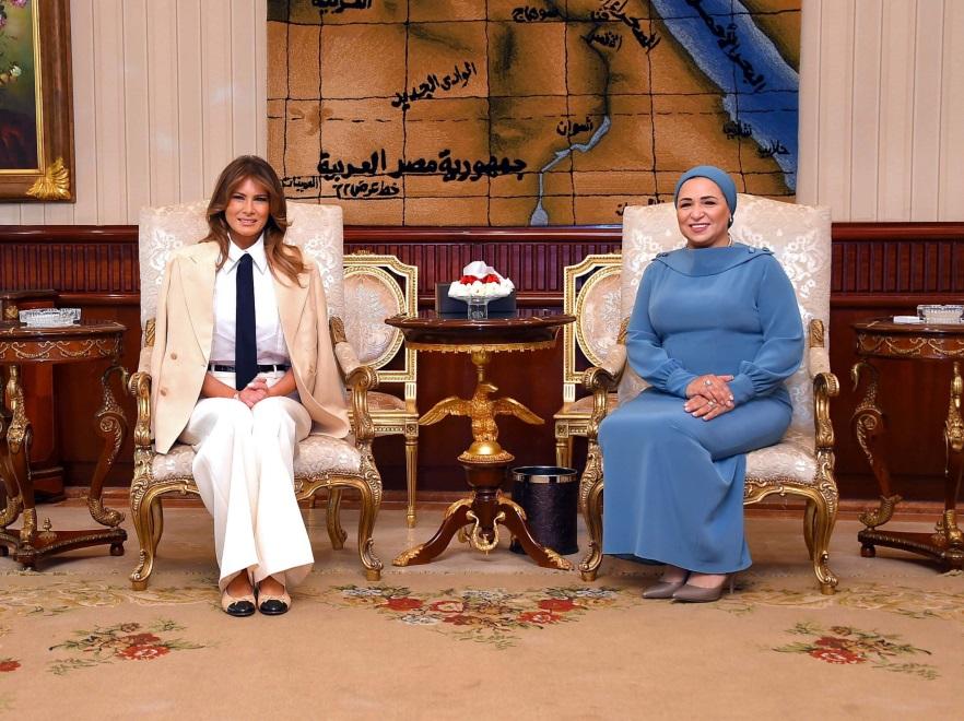 Melania Trump i małżonka prezydenta Egiptu Entissar Amer