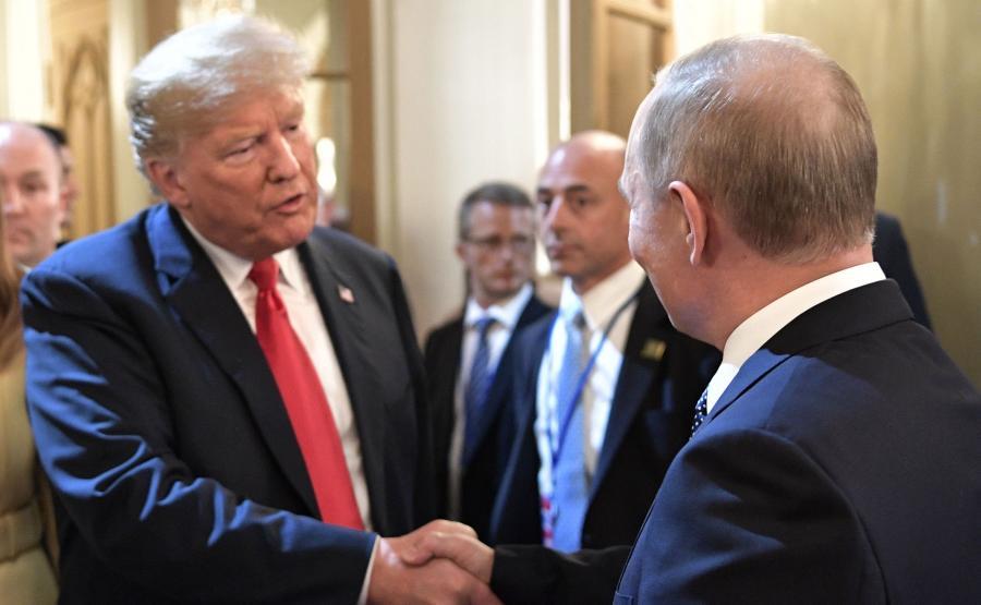 Donald Trump i Władimir Putin w Helsinkach