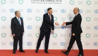 Prezydent Andrzej Duda i sekretarz generalny ONZ witają gości na COP24