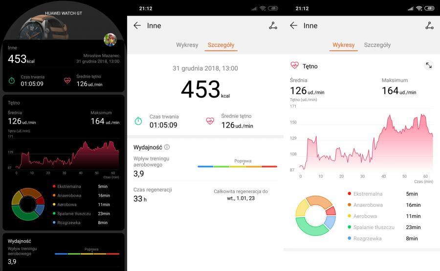 Huawei Watch GT - trening