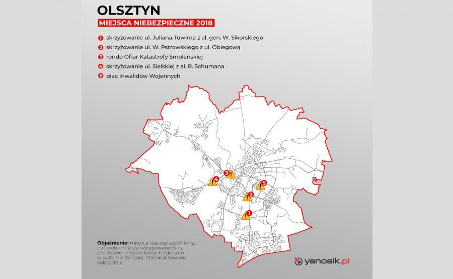 5 najbardziej niebezpiecznych miejsc w Olsztynie