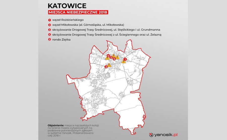 5 najbardziej niebezpiecznych miejsc w Katowicach