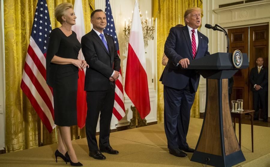 Donald Trump oraz Andrzej Duda z małżonką