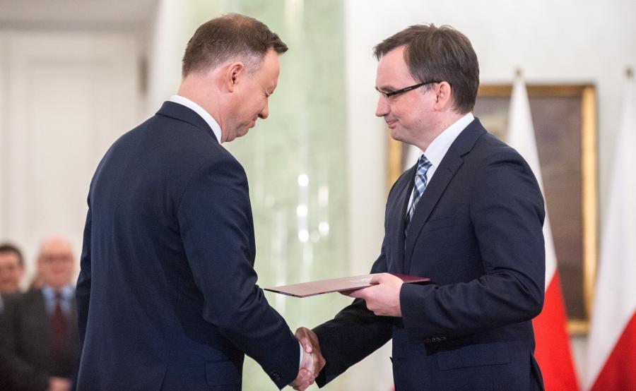 Prezydent Andrzej Duda i minister sprawiedliwości Zbigniew Ziobro