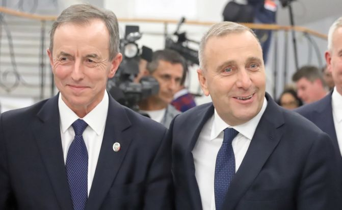 Senator PO-KO Tomasz Grodzki i przewodniczacy PO Grzegorz Schetyna