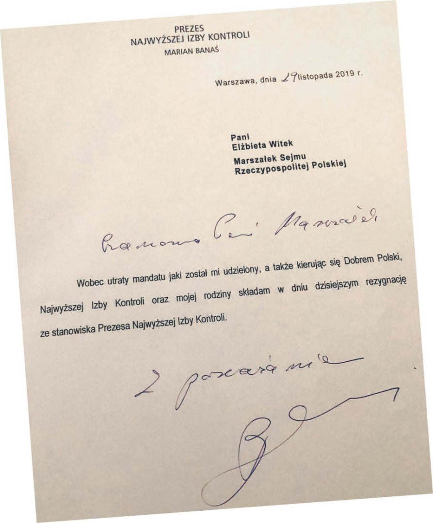 Rezygnacja Mariana Banasia
