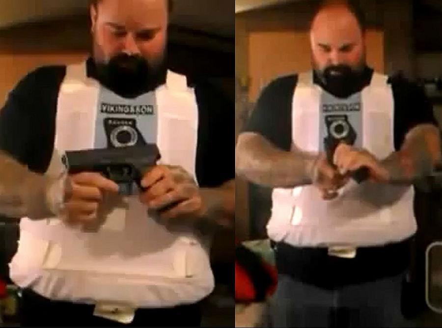 Mężczyzna testuje kamizelkę kuloodporną