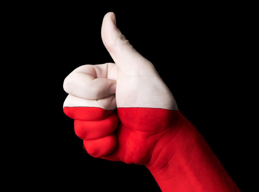 Biało czerwony - kciuk - zdjęcie ilustracyjne