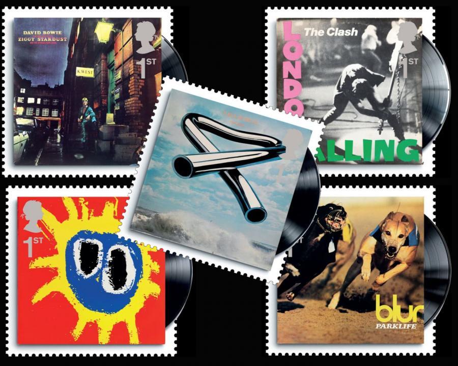 Okładki rockowych klasyków na znaczkach