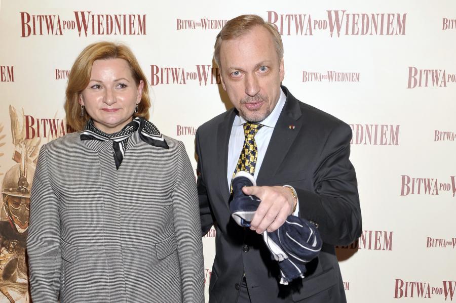 """Minister Bogdan Zdrojewski z żoną Barbarą na premierze """"Bitwy pod Wiedniem"""""""