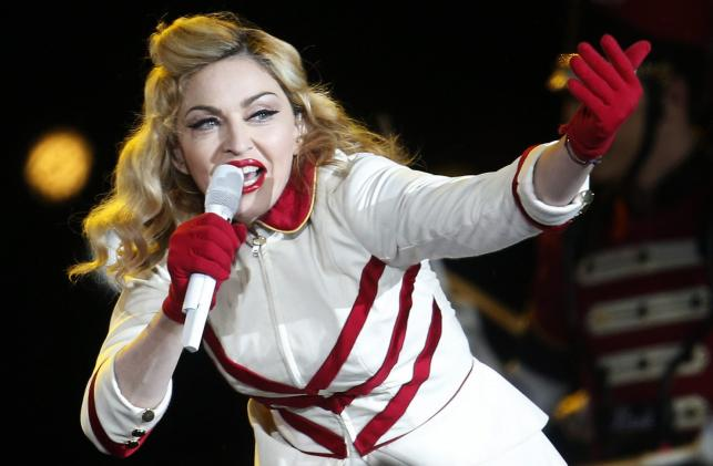 Madonna podczas koncertu w Santiago