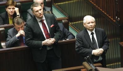 Przemysław Wipler i Jarosław Kaczyński w Sejmie