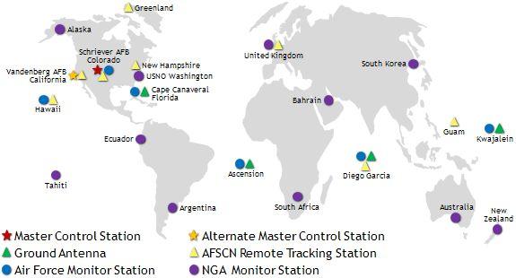 Mapa urządzeń amerykańskiego systemu GPS, źródło: gps.gov