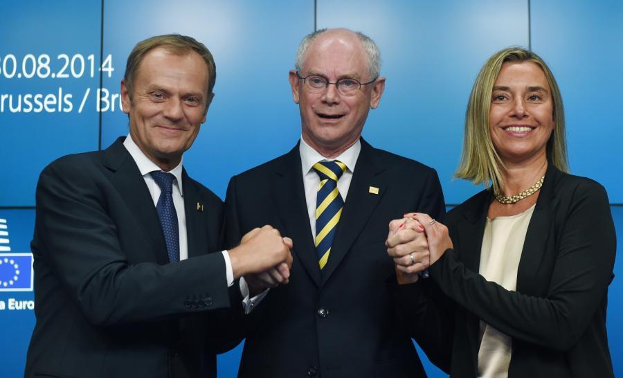 Donald Tusk, Herman Van Rompuy i Federicą Mogherini