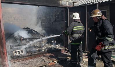 Pożar po ostrzale w Doniecku