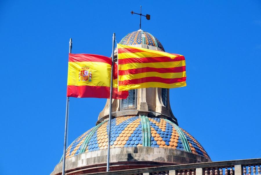 Flaga Hiszpanii i Katalonii