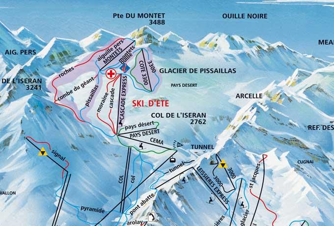 Turyści cenią  wysoko całoroczny teren narciarski na lodowcu Pissaillas