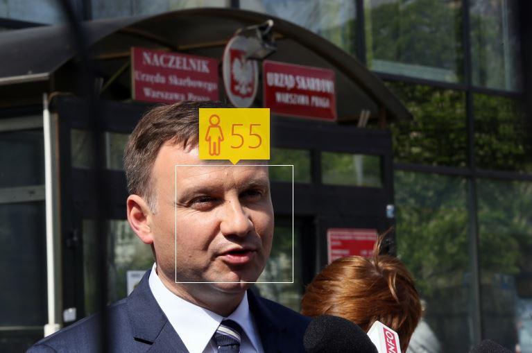 Andrzej Duda i jego wiek według How-Old.net