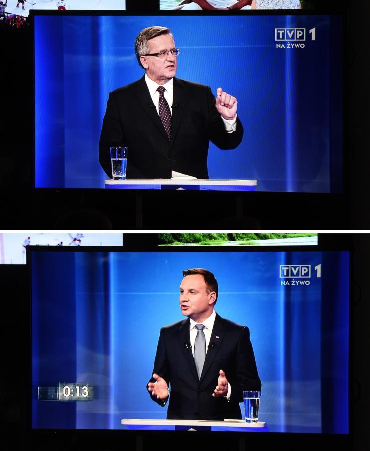Andrzej Duda i Bronisław Komorowski w czasie debaty prezydenckiej