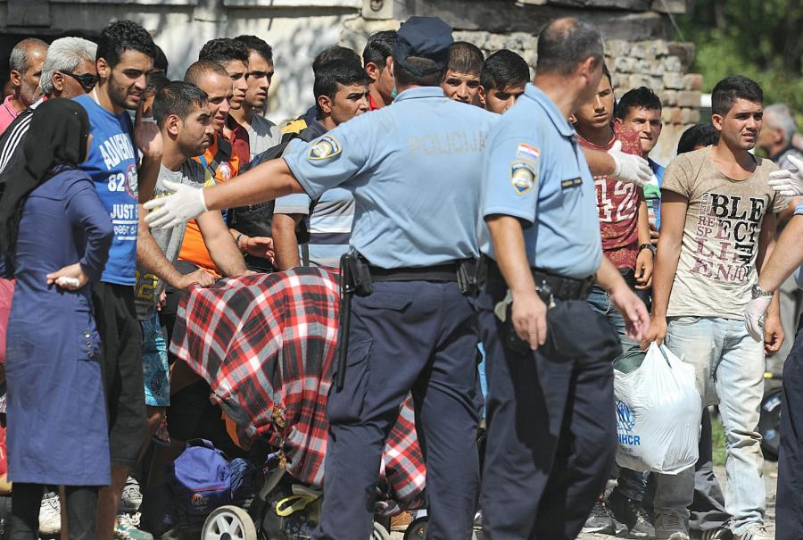 Imigranci niedaleko miasta Tovarnik