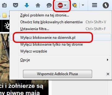 Jak wyłączyć Adblocka na dziennik.pl - Firefox