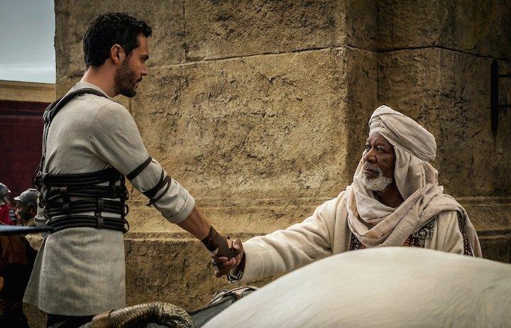 Jack Huston jako Ben-Hur i Morgan Freeman jako Ilderim