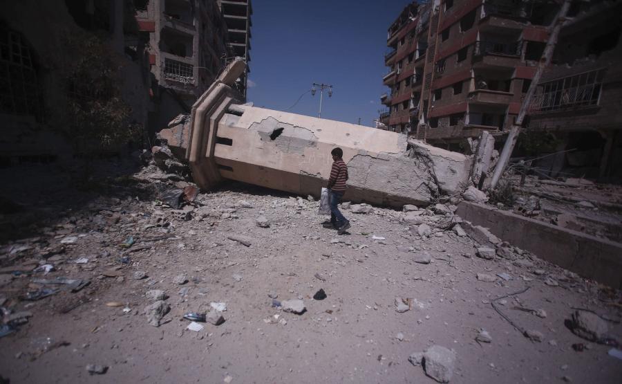 Zbombardowane przedmieścia Damaszku