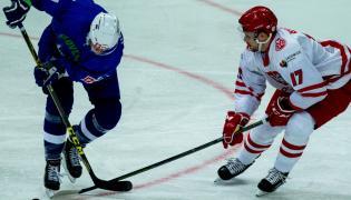 Mateusz Bryk (P) i Słoweniec Miha Verlic (L) podczas meczu Mistrzostw Świata Dywizji 1A w hokeju na lodzie, rozgrywanych w katowckim Spodku