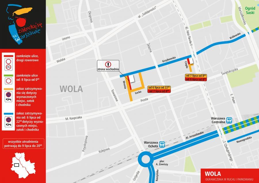 Plan ograniczeń w czasie szczytu NATO - Warszawa Wola