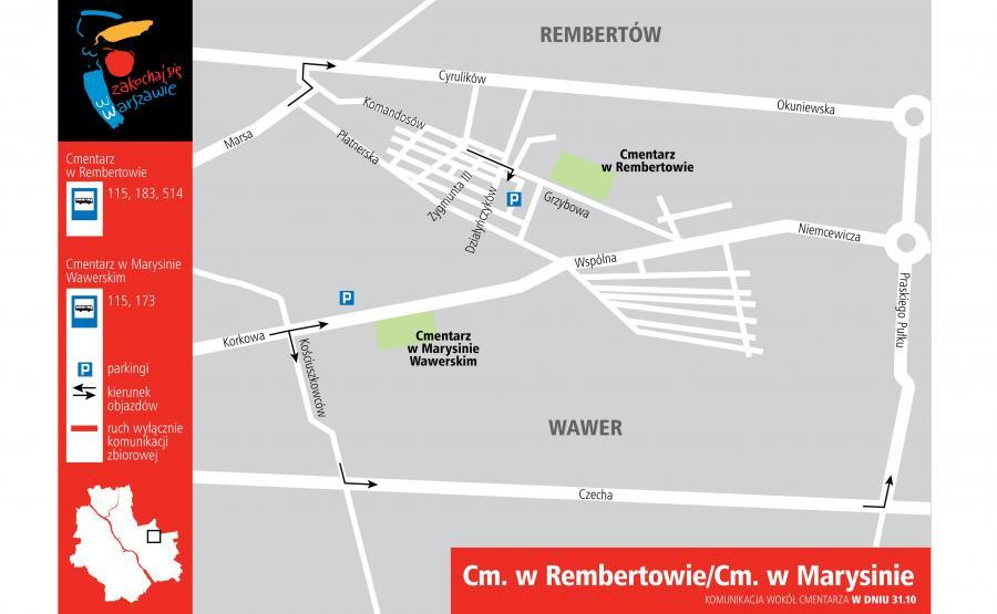 Cmentarz w Rembertowie i Marysinie - dojazd 31 października 2016