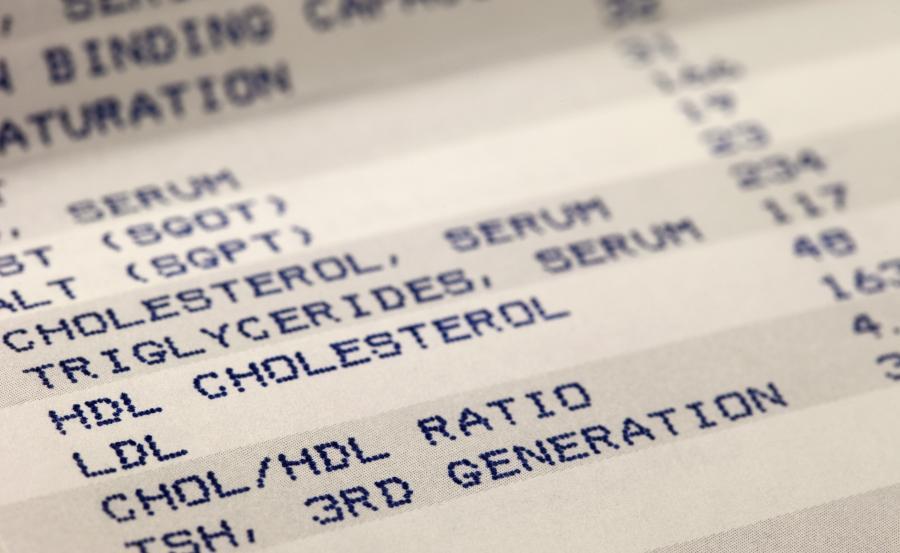 Wynik badania poziomu cholesterolu we krwi