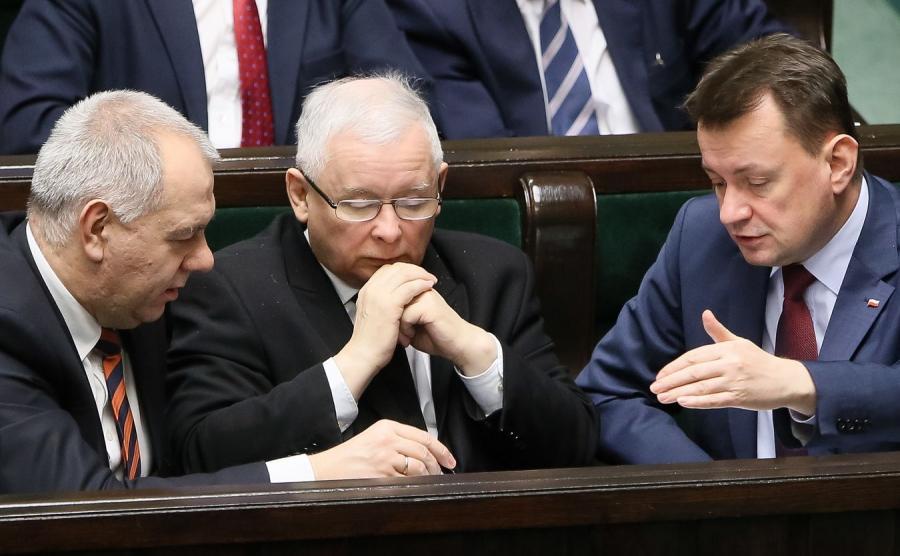 Jacek Sasin, Jarosław Kaczyński i Mariusz Błaszczak