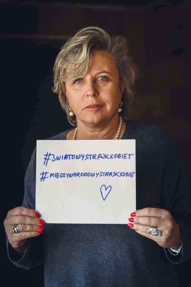 Krystyna Janda popiera Strajk Kobiet 8 marca / zdjęcie z profiul Strajk Kobiet