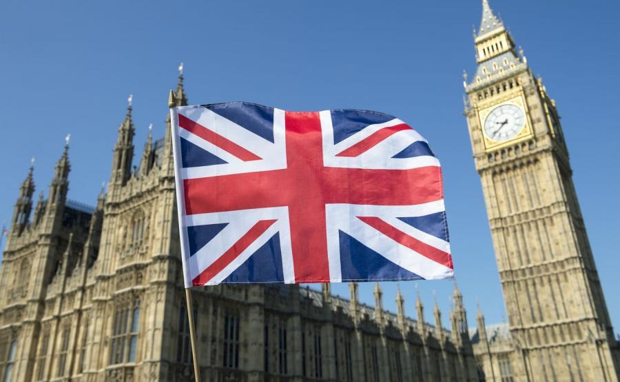 Londyn i brytyjska flaga